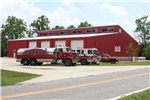 Bethel Volunteer Fire Department Large Trucks and Red Shed